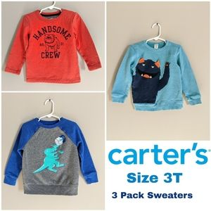 3 Pack Carter's Boys 3T Sweaters Dog Dino Cat Jack